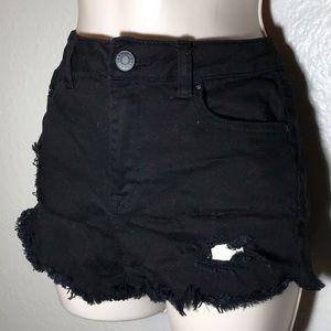 Refuge black distressed denim shorts
